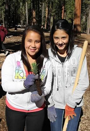 Volunteers at planting event in Lake Tahoe in 2012, funded by Global ReLeaf