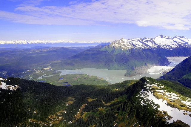 Aerial view of the Mendenhall Glacier in Tongass National Forest