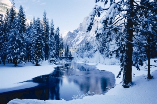 Snowy river in Yosemite National Park, California