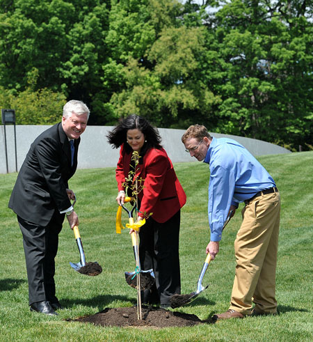Arlington National Cemetery tree planting: Scott Steen, Katherine Hammack and Steve Van Hoven