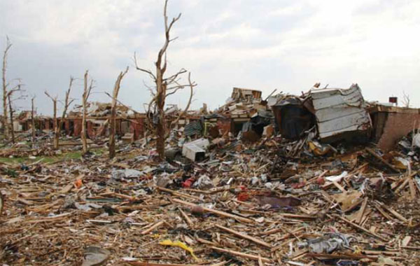 Damage from the EF5 tornado that hit Joplin, Missouri, and the neighboring town of Duquesne