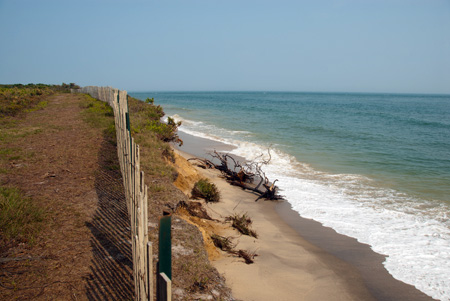 A stretch of Chappaquiddick Island that is being eroded