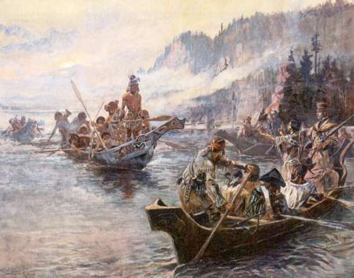 """Lewis and Clark on the Lower Columbia"" by Charles Marion Russell"
