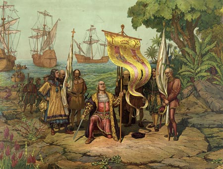 Illustration of Christopher Columbus arriving in America