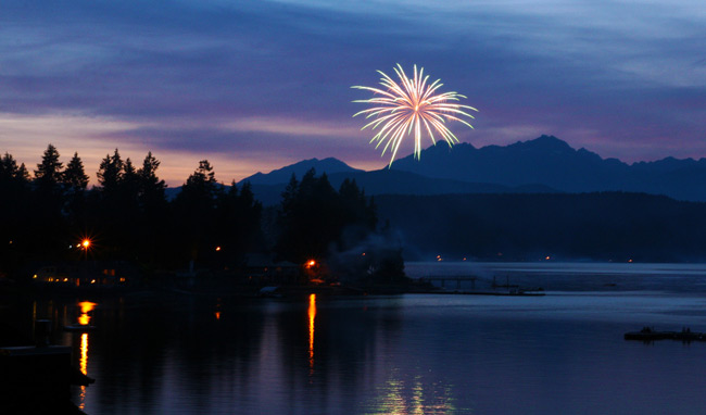 Fireworks over Hood Canal, Washington