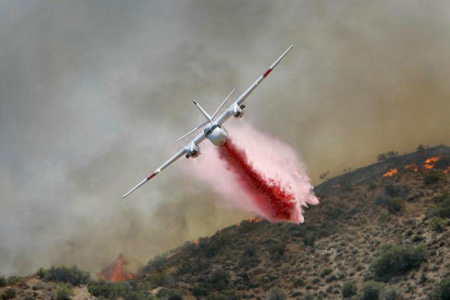 Calfire S-2F3AT Tanker 71 working the Sawtooth Complex Fire in San Bernardino County, California, September 2006