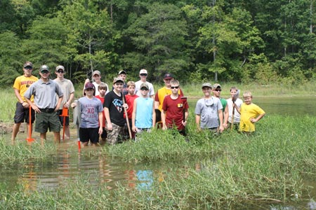 A group of young volunteers came to clean up Russell Lake in Savannah, Georgia during NPLD 2011