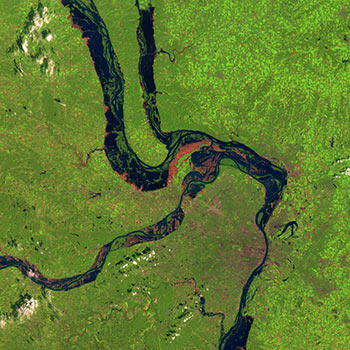 The area around St. Louis, Missouri, in August 1991 before the Great Midwest Flood
