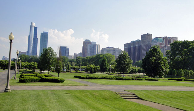 Grant Park, Chicago, Illinois, whose land was officially designated as a park by the city in 1844