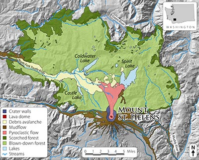 This map shows the disturbance zones created by the eruption