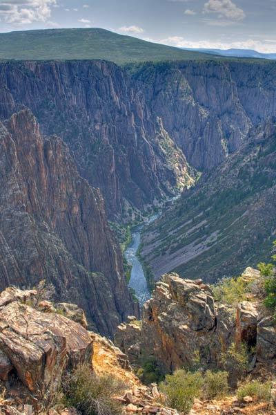 The slopes of Black Canyon split by Gunnison River