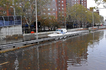 New York City's FDR Drive flooded after Hurricane Sandy