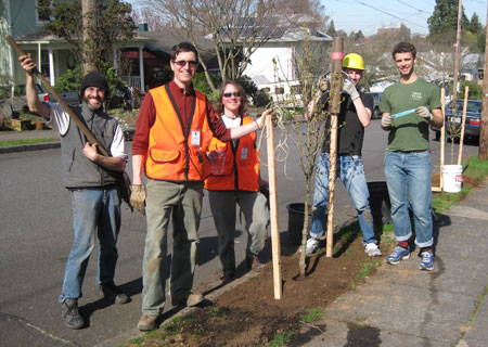 Friends of Trees planting in Mt. Tabor Neighborhood