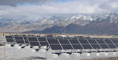 Solar panels at Bear River Migratory Bird Refuge