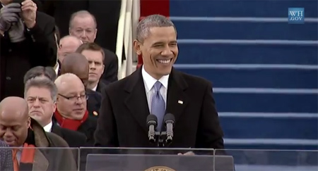 President Obama during his second inaugural address
