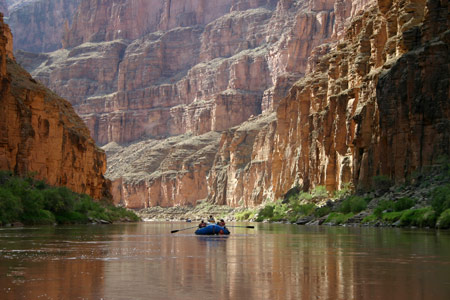 Boating down the Colorado River below Havasu Creek in Grand Canyon National Park