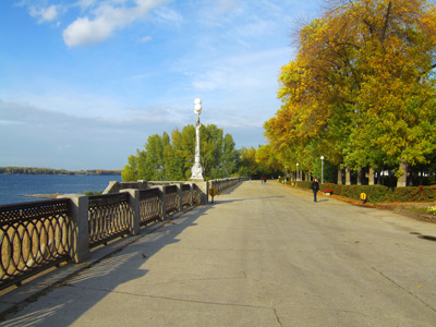 A walkway along the Volga River, Samara, Russia