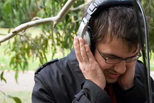 Artist Alex Metcalf's Tree Listening Project, shown here in 2009, allows visitors to listen to the sounds of trees drawing water from their roots. Now, scientists are learning to discern which of these sounds are indicative of drought conditions. Credit: Tom Grinsted.