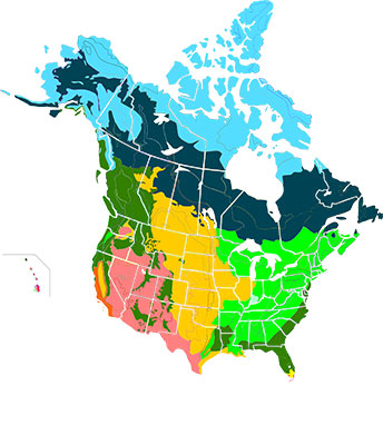Major habitats of Canada and the U.S., with boreal forests shaded in dark blue