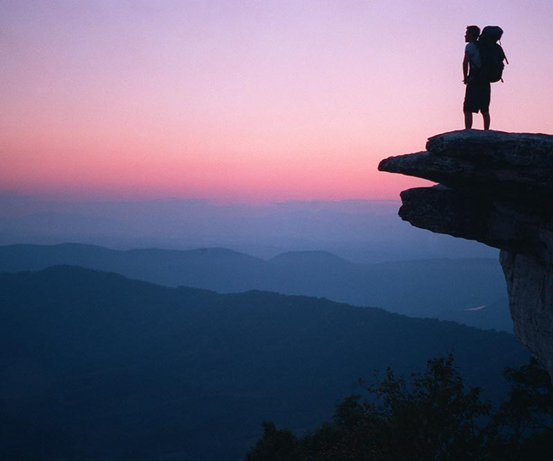 McAfee Knob overlook in Virginia at sunset. Courtesy of the Appalachian Trail Conservancy.