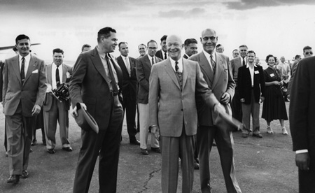Richard E. McArdle meets with President Dwight Eisenhower and Montana Governor J. Hugo Aronson in Missoula, Montana in September 1954.