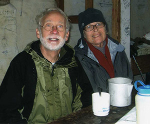 McCalls having breakfast at Chestnut Ridge shelter (fall 2011). Photo: Mark and Carol McCall.