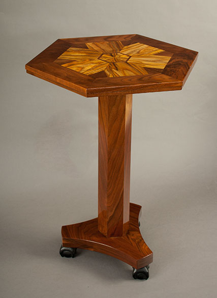 The completed table made from the staghorn sumac and black walnut. Photo: Elena Neuzil.