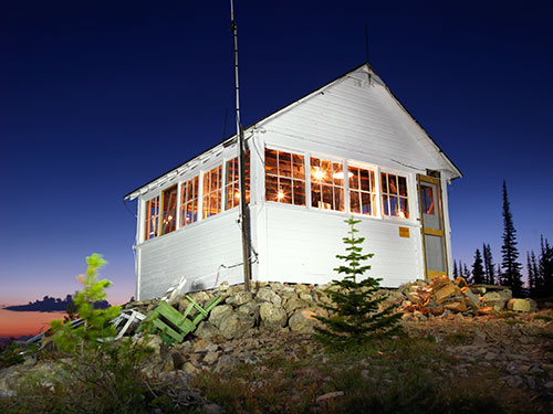 Haugen's lookout at night. Photo: Tom Persinger