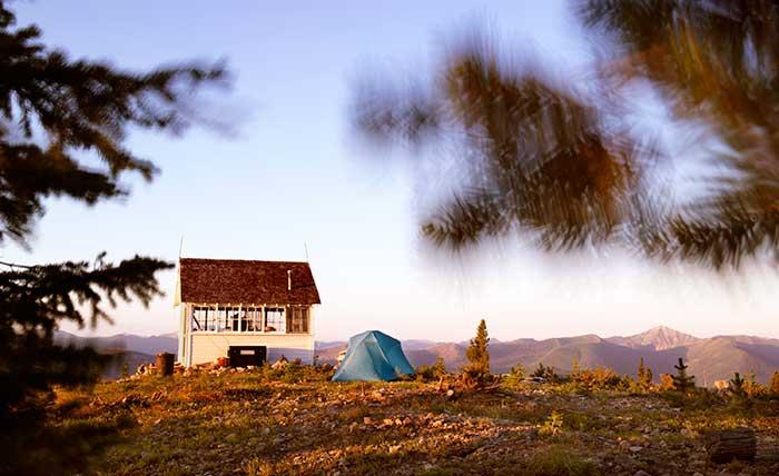 Tent and Haugen's lookout. Photo: Tom Persinger