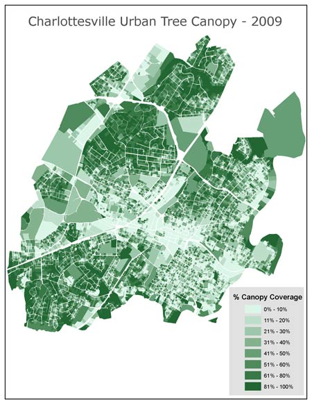 An example of an urban tree canopy (UTC) map