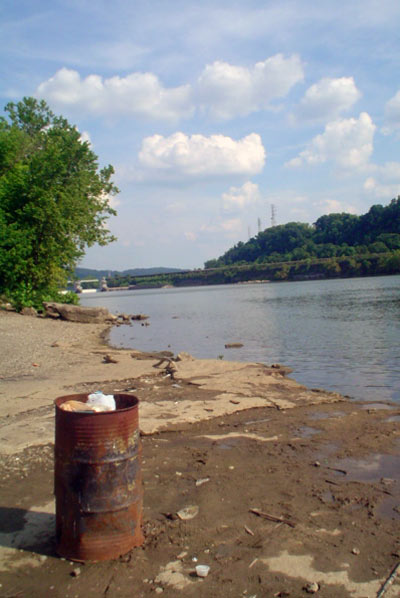 Trash burning along the Monongahela River, Pennsylvania