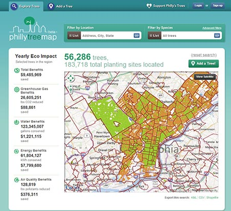 Open Tree Map shows ecosystem benefits for Philadelphia. Credit: Philly Tree Map