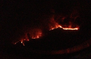 The Rim Fire at night from 35,000 feet in the air