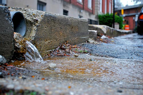 Stormwater flows onto a street
