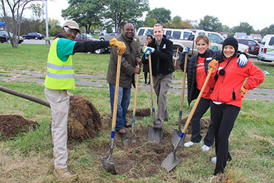 American Forests and The Greening of Detroit staff with Bank of America volunteers at Rouge River Park in Detroit.