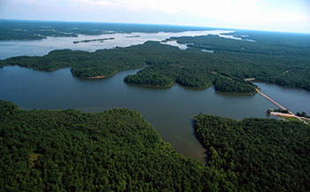 Aerial view of Energy Lake in Land Between the Lakes National Recreation Area