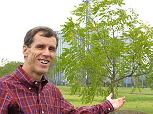 Brian Hammons in the black walnut orchard adjacent to the Hammons Products Company headquarters in Stockton, Mo.