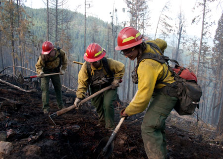 Firefighters work to contain the Rogers Fire and protect the Rogers Mountain Trail in Colville National Forest, Wash.
