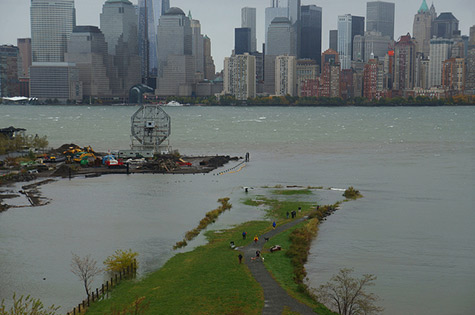 Flooding caused by Hurricane Sandy storm surges in Morris Canal Park in Jersey City