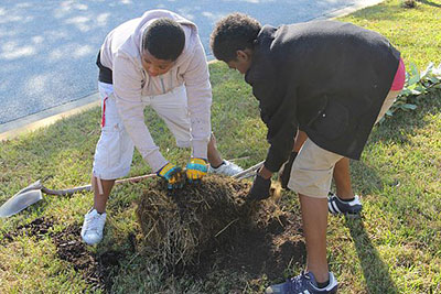 Price Middle School students plant a tree as part of a Community ReLeaf project in Atlanta.