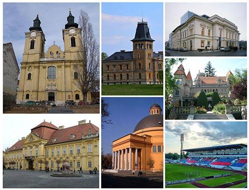 Montage of images of Székesfehérvár.