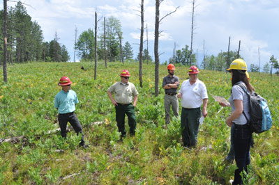 Megan Higgs with Hiawatha National Forest representatives