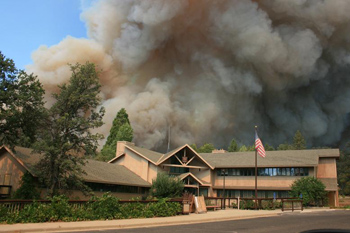 The Rim Fire approaches the Groveland Ranger Station in the Stanislaus National Forest.