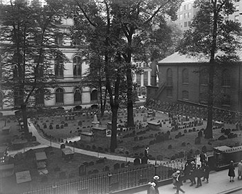King's Chapel burial ground in Boston, 1929