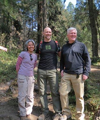 Rebeca Quiñonez-Piñón of La Cruz Habitat Protection Project with Matthew Boyer and Scott Steen of American Forests