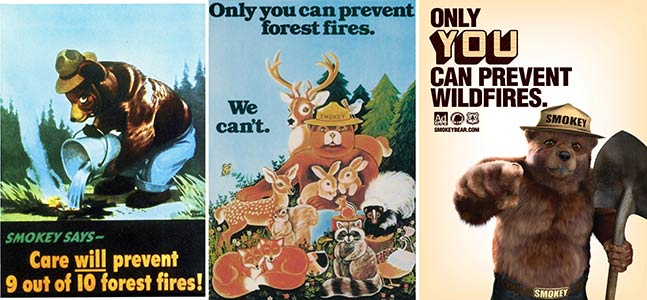Smokey Bear ads in 1944, 1979 and 2011