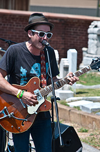 "Atlanta band Mermaids plays at Oakland Cemetery's ""Tunes From the Tombs"" event."