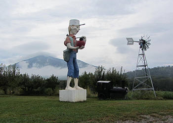 statue of Johnny Appleseed at Johnson's Orchard in Bedford County, Va.