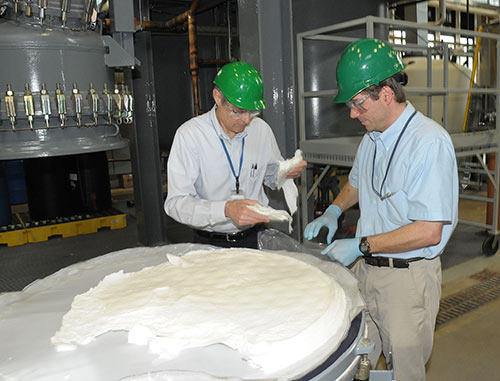 Alan Rudie (left) and Richard Reiner of the Forest Products Laboratory