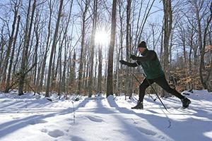 Bob Perschel enjoys a New England winter in the woods